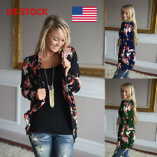 US Women Ladies Floral Printed Jacket Waistcoat Cardigans Cape Outwear Warm Coat