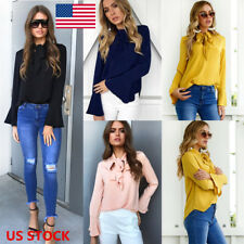 US Women Ladies OL Flared Long Sleeve Work Tie Lace Up Chiffon Blouse Tops Shirt