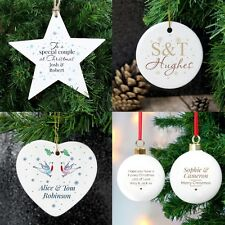 PERSONALISED Couples Christmas Bauble Tree Decoration Marriage Engagement Gift