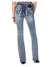NEW Miss Me PEEK-A-BOO CROSS HATCH RELAXED BOOT CUT JEANS