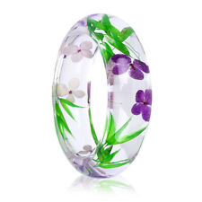 Handmade Lucite Plastic Dried Flower Incased Resin Womens Bracelet 64mm Bangle