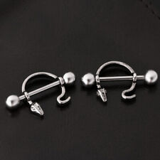 1 Pair Stainless Steel Crystal CZ Nipple Shield Bar Ring Body Piercing Jewelry