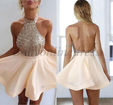 Short Cocktail Party Homecoming Dress Halter Evening Prom Gown Dresses Ball Gown