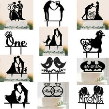 Acrylic Mr & Mrs Love Heart Birds Silhouette Cake Topper for Wedding Party