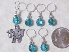 czech crystal beads,sheep knitting stitch markers,silver pewter charm,no snag,