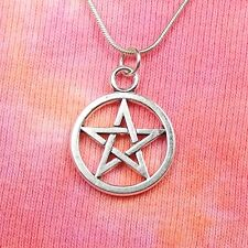 "Medium Pentagram Star Necklace 16 to 36"" inch long Pagan Wiccan Jewelry Pentacle"