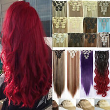 US SELLER Real as human Hair Full Head Clip In Hair Extensions Straight Curly ww