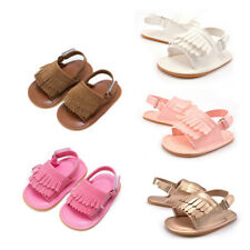 Kids Toddler Baby Girls Summer Soft Sole Tassels Slip On Crib Sandals Shoes