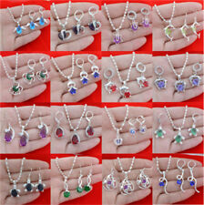 925 Silver Set for Women Fashion Jewelry Multicolor Topaz Necklace and Earrings