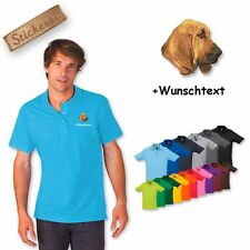 Polo Shirt Cotton embroidered Embroidery Bloodhound + Desired text