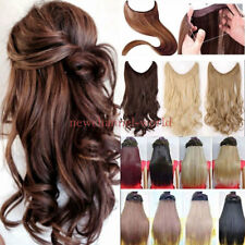 100% Real Secret Headband Wire One Piece No Clip In Hair Extension Straight Wavy