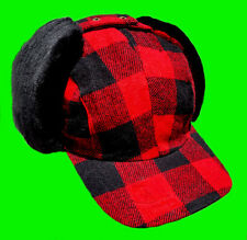 """Red / Black Wool Plaid Check """" Fudd """" Winter Hunting Hat - Cap With Ear-Flaps"""