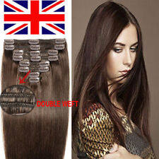 """UK 16-22"""" Thick Remy Clip In Human Hair Extension Full Head Double Weft 8P LIN56"""