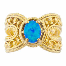 14Kt Yellow Gold Plated Blue Opal Oval Cocktail Design Ring