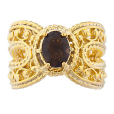 14Kt Yellow Gold Plated Genuine Smoky Quartz Oval Cocktail Design Ring