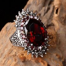 Fine Womens Oval Garnet Cocktail Solid 925 Sterling Silver Ring GR232 Multi-size