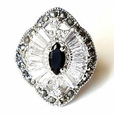 (SIZE 6,7,8) Marquise Black ONYX CZ Cocktail RING Marcasite .925 STERLING SILVER