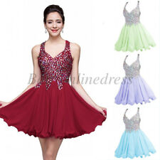 Short Mini Beadings Prom Dress Party Evening Formal Homecoming Bridesmaid Gown