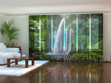 """Set of 6 Sliding Panel Curtains by Wellmira """"Waterfall in Indonesia"""""""