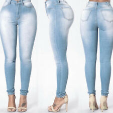 Women Lady Denim Skinny Pants High Waist Stretch Jeans Slim Pencil Trousers Plus