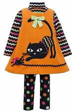 Bonnie Jean Baby Girls Orange CAT Fall Halloween Dress 3-pc set 0-24 Months