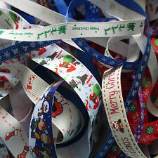 10m Bundle Mixed Christmas Grosgrain Ribbon Trimmings Assorted Widths Offcuts