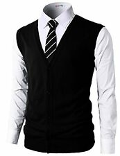 #CMOV038 H2H Mens Casual Slim Fit Knitted V-Neck Button-Down Vest Of Various