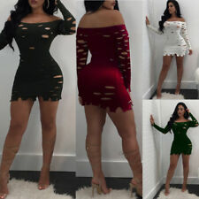 Evening Party Off Shoulder Mini Bodycon Dress Fashion Long Sleeve Sexy Womens