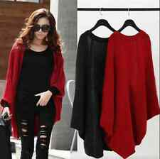 2017 Women Batwing Top Poncho Knit Cape Cardigan Coat Knitwear Sweater Jacket UK