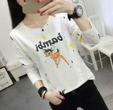 Korean fashion Women/Girl Letter print Casual Long Sleeve T-shirt Loose Tops &HF