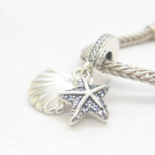 S925 Sterling Silver Tropical Starfish & Sea Shell Frosty Mint & Clear CZ Charm