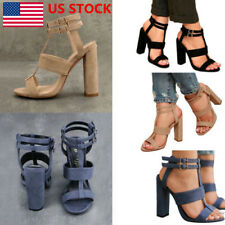 Women Lady Summer Causal Open Teo Buckle Ankle Strappy High Heels Shoes Sandals