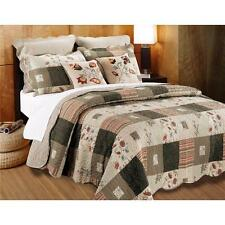 Taupe Tan Vintage Country Floral Flower All Cotton Patchwork Quilt Set Bedding