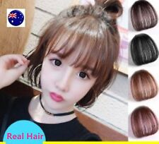 Women 100% Human Real Hair Natural Clip on Bang Front Fringe Wig Piece extension