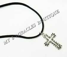 CROSS NECKLACE Boys Teens Silver Suede Pendant 1st First Communion Confirmation