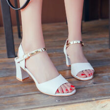 Women Open Toe Chunky Heels Ankle Strap Sandals Wedge High Heel Antiskid Shoes