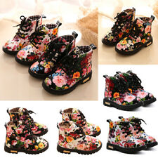 New Kids Toddler Girls Flowers Anti-Slip Lace Up Smart Ankle Boots Martin Shoes