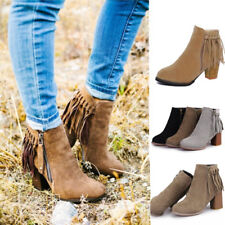 Womens Suede Fringe Tassels Boots Ladies Zipper Chunky Heel Ankle Boots Shoes