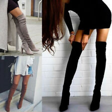 Women Lady Over The Knee Stretch Thigh High Boots High Heels Lace Up Boots Shoes