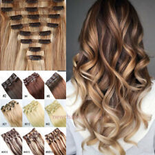 100% Natural Soft Hair Clip in Hair Extensions 8 Pieces Full Head Straight Curly