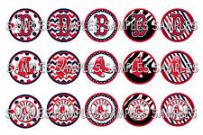 "MLB Boston Red Sox PRE CUTS or DIGITAL SHEET 1"" Circle Bottle Caps"