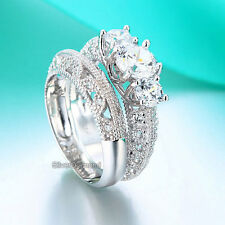 Fine 925 Sterling Silver Vintage Victorian Art Deco Engagement Ring Set Diamond