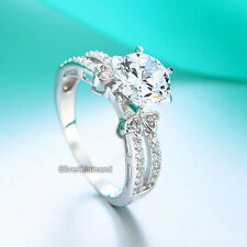 925 Sterling Silver Round Cut Wedding Engagement Ring Simulated Diamond