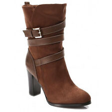 WOMENS LADIES CASUAL BUCKLE FASHION HIGH BLOCK HEEL MID CALF BOOTS SHOES 3-8