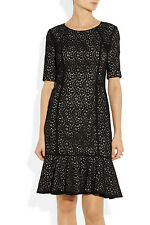NWT $399 Donna Karan DKNY BLACK Stretch Cotton Lace DRESS UK 10 UK 14 FullyLined