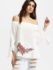 White Embroidered Rose Patch Off The Shoulder Top Blouse Tunic Sz XS S M L