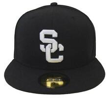 USC Trojans Fitted New Era 59Fifty White Logo Black Cap Hat