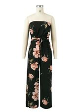 Womens Floral Print Crop Top Pants Trousers Waistband Jumpsuit Playsuits SML