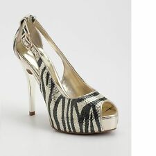 New Women's sz 8 GUESS Hondola Gold Zebra & Tiger Print Peep-toe Platform Pumps