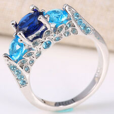 Men Women 925 Silver 2.8Ct Sapphire Gem Ring Size6-12 Wedding Bridal Cocktail